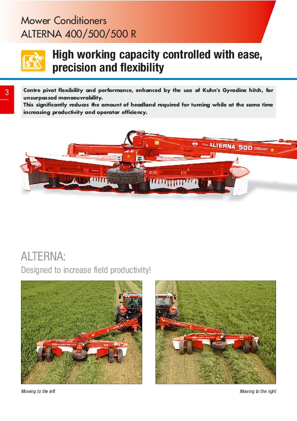 kuhn fc mower conditioner alterna 400 alterna 500 500 agricultural rh agriculture filemanual com Kuhn North America Offset Mower