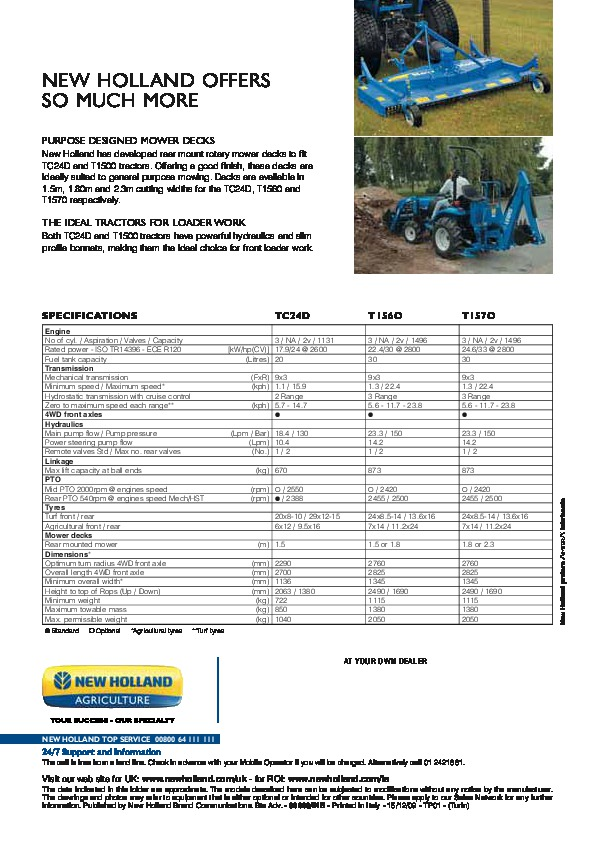New Holland 1500 Tractor: New Holland TC24D T1560 T1570 T1500 Tractors Catalog